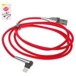 Cable USB Baseus, USB tipo-A, Lightning para Apple, 100 cm, rojo, para cargar el teléfono, en forma de L, con revestimiento de nylon, con indicador, 2.4 A, #CALMVP-D09